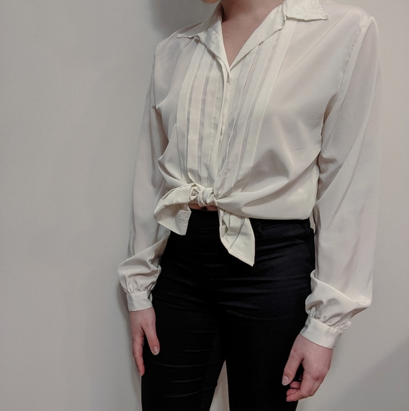 Lace Trim Satin Blouse